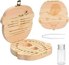 bo/îte en bois pour ranger les dents Version espagnole GeekerChip bo/îte pour dents de lait,cadeau pour enfants en bois de souvenir Gar/çon