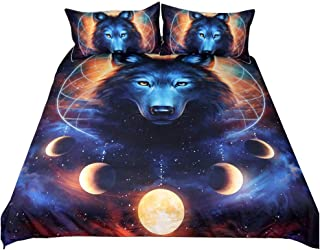 Onlyway 3Pcs Moon Wolf Duvet Cover Sets, 3D Animal Galaxy Printed Quilt Cover & Pillowcases (Wolf, King Size:228x264cm)