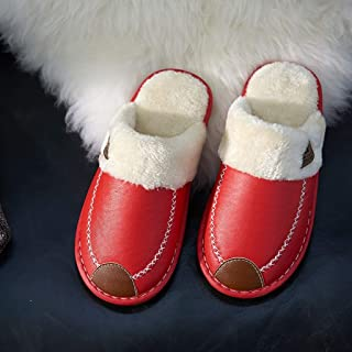 SYLOZ Home Slippers PU Upper Velvet Material Home Shoes Waterproof Easy to Clean and Dirty to Wipe A Warm Slippers (Color : Red, Size : 38-39)