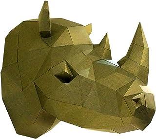 TANOKAY DIY Papercraft 3D Wall Rhino Head Trophy, Pre-Cut Wall Paper Art Puzzle Decor Animal Sculpture Origami Assembly Ki...