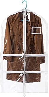 Versatile Transparent Hanging Garment Bag,Waterproof & Dustproof & Mothproof Suit Bag, with 4 Large Zipper Pockets for Closet Wardrobe Storage and Travel Transparent
