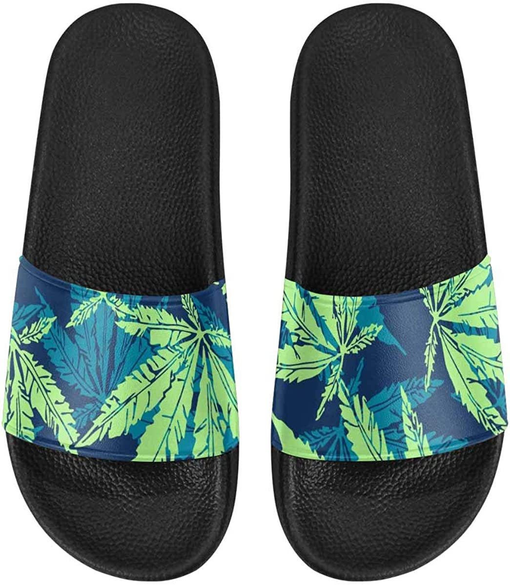 InterestPrint Women's Stylish Slipper Sandals for Summer Marijuana Tropical Pattern