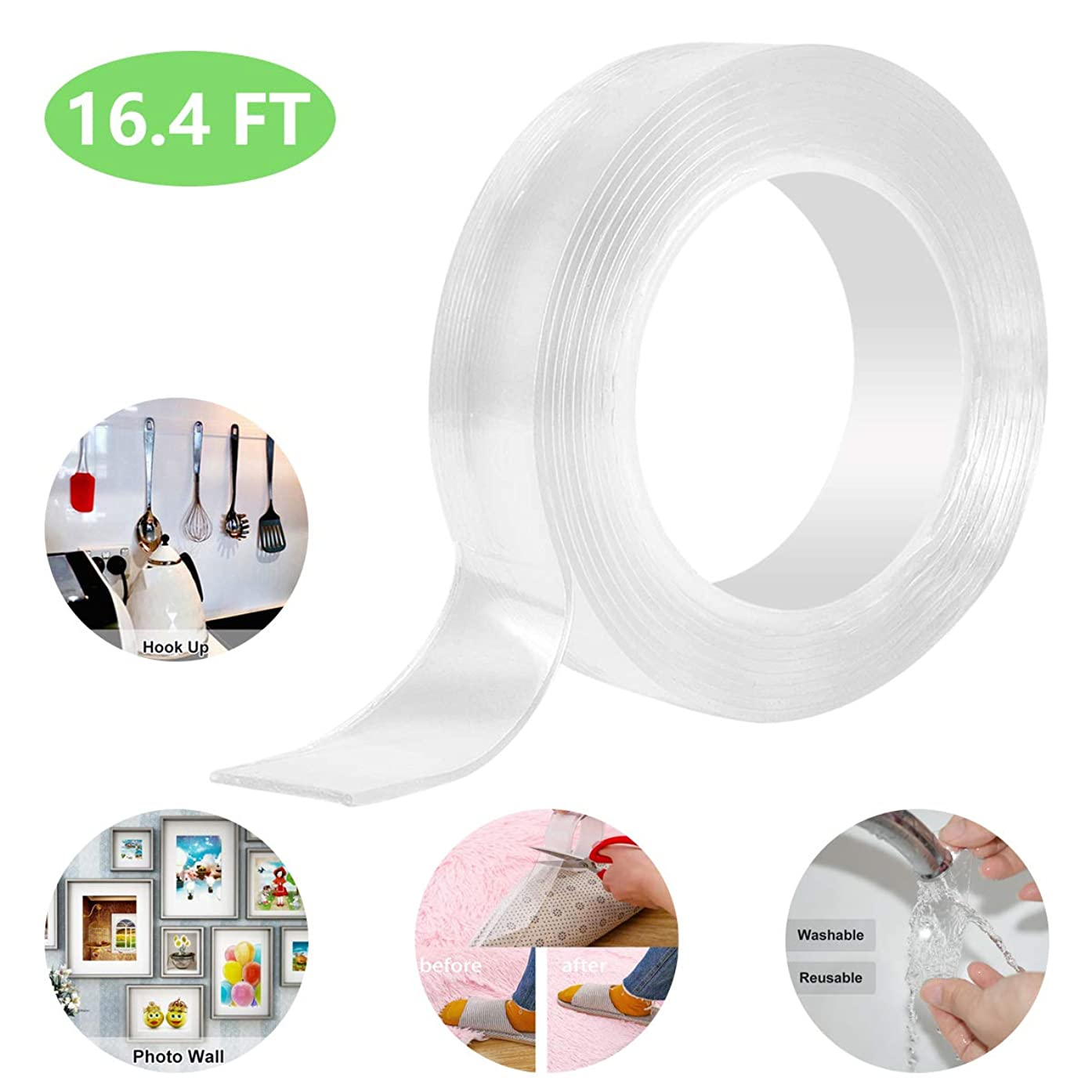 Traceless Tape Reusable Double Sided Adhesive Tape Removable Washable Nano Clear Anti Slip Gel Tape for Kitchen Photos Cabinets Carpet Glass Metal Tile (5M/16.4Ft)