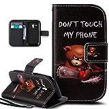 Kompatibel mit Galaxy S3 Mini Hülle,Galaxy S3 Mini Lederhülle,Bunte Gemalt Malerei PU Lederhülle Handyhülle Taschen Tasche Flip Wallet Ständer Schutzhülle für Galaxy S3 Mini,Bär Don't Touch My Phone
