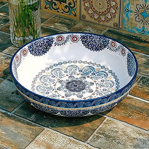 BAQQ Vintage Pintado a Mano Floral Azul cerámico Cuenco Creativo casero Cubiertos Ramen Sopa tazón Grande, Amplio Ramen Profundo Sopa Grande tazón, 31 cm
