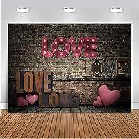 装飾バナー写真 ロマンティックアモールダデサンバレンテンキラキラレッドラブラブ シームレスな小道具の背景 暗いレンガの壁 ビニール折りたたみビデオ 現代の