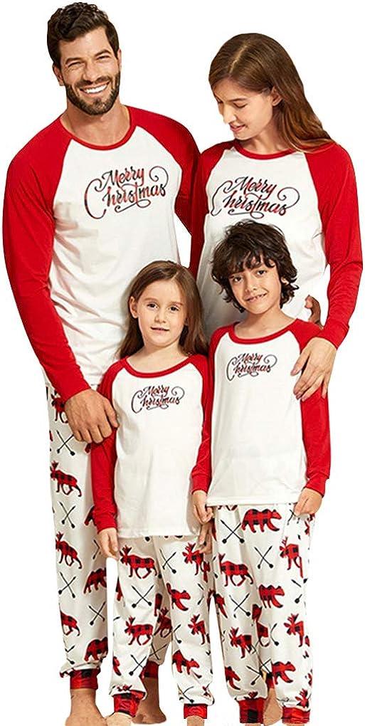 GERINLY Family Reindeer Letter Christmas Pajamas Set Snowflake Cotton Boys Sleepwear Girls Long Sleeve Loungewear
