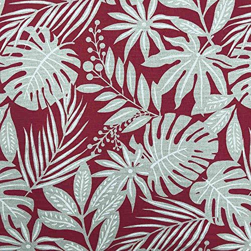 Kt KILOtela Tela de loneta Estampada - Half Panamá 100% algodón - Retal de 100 cm Largo x 280 cm Ancho   Plantas Tropicales - Granate ─ 1 Metro