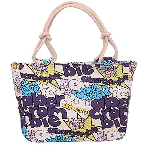 HM&DX Frauen floral canvas einkaufstasche große handtasche hobo mehrfarbige lebensmittelgeschäft einkaufstasche geschenk picknick camping dating -F