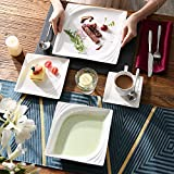 MALACASA, Serie Monica, Tafelservice 30-tlg Kombiservice Porzellan Geschirrset mit je 6 Kaffeetassen, 6 Unterteller, 6 Dessertteller, 6 Tiefteller und 6 Flachteller - 9