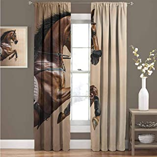 GUUVOR Animal Decor Collection Room Darkened Heat Insulation Curtain Chestnut Color Horse Jumping in a Hackamore Life Force Power and Honor Love Sign Print Living Room W52 x L108 Inch Brown Cream