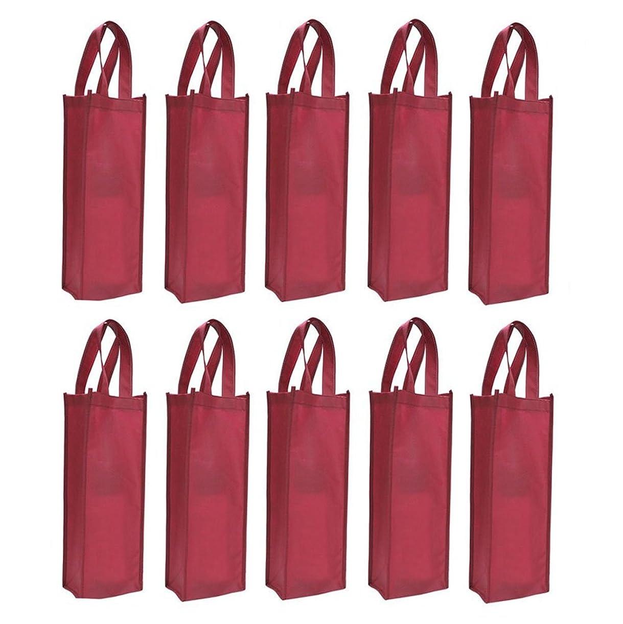 Homanda? 10pcs Dark Red Non-Woven Single Bottle Wine Tote Bag Holder, Reusable Gift Bag znpst6429