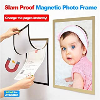 Magnetic Picture Frame, A3/A4 Photo Pocket Picture Frame Photo Collage for Refrigerator, Magnet Board Decor for Elegant Decor Easy to Change Photo Lifetime Guaranty (Gold, 21cm x 29.7cm/8