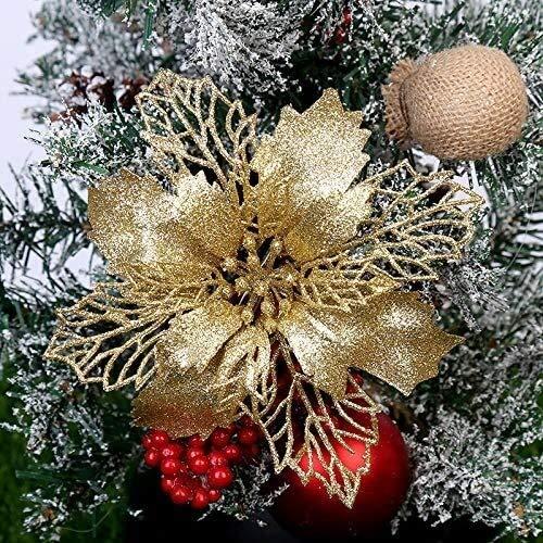 Eeayyygch - 10 fiori di Natale a forma di stella di Natale da appendere all'albero di Natale, decorazione natalizia (colore: oro)