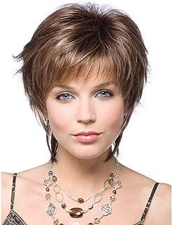 女性用かつら180%密度合成耐熱ショーツブラジル人毛ウィッグブラウン25cm