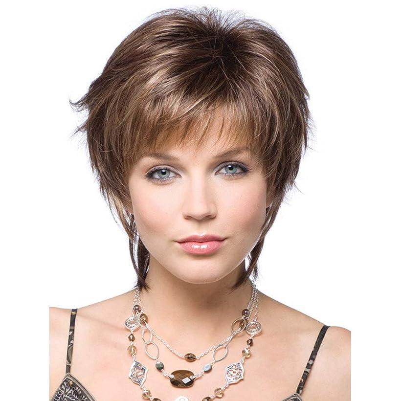 アイスクリーム二次追加する女性用かつら180%密度合成耐熱ショーツブラジル人毛ウィッグブラウン25cm