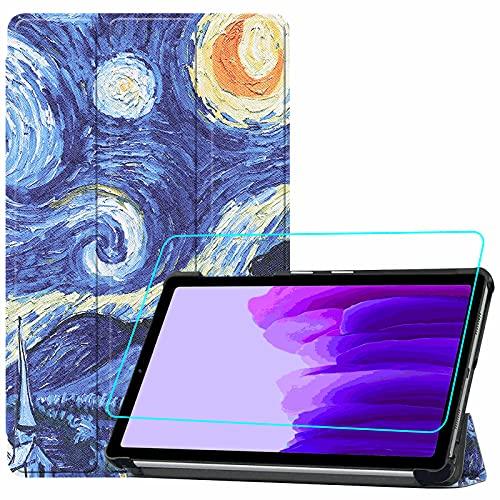 Brifu - Funda protectora para Samsung Galaxy A7 Lite (SM-T220/SM-T225) (8,7 pulgadas), ultrafina, piel sintética, con función de planchado, Starry Sky + 1 protector de pantalla de cristal templado