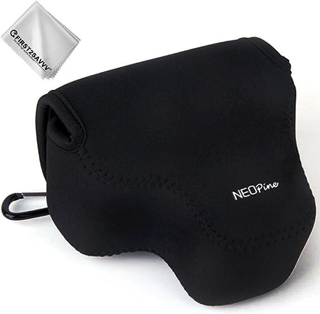 First2savvv negro Funda Cámara Reflex Neopreno Protectora para Canon PowerShot SX540 SX530 SX520 SX50 SX40 SX30 + Paño de limpieza QSL-SX540-01G11
