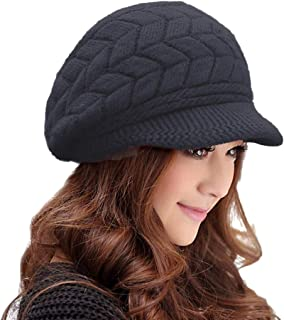 HINDAWI Winter Hats for Women Girls Warm Wool Knit Snow Ski Skull Cap with Visor