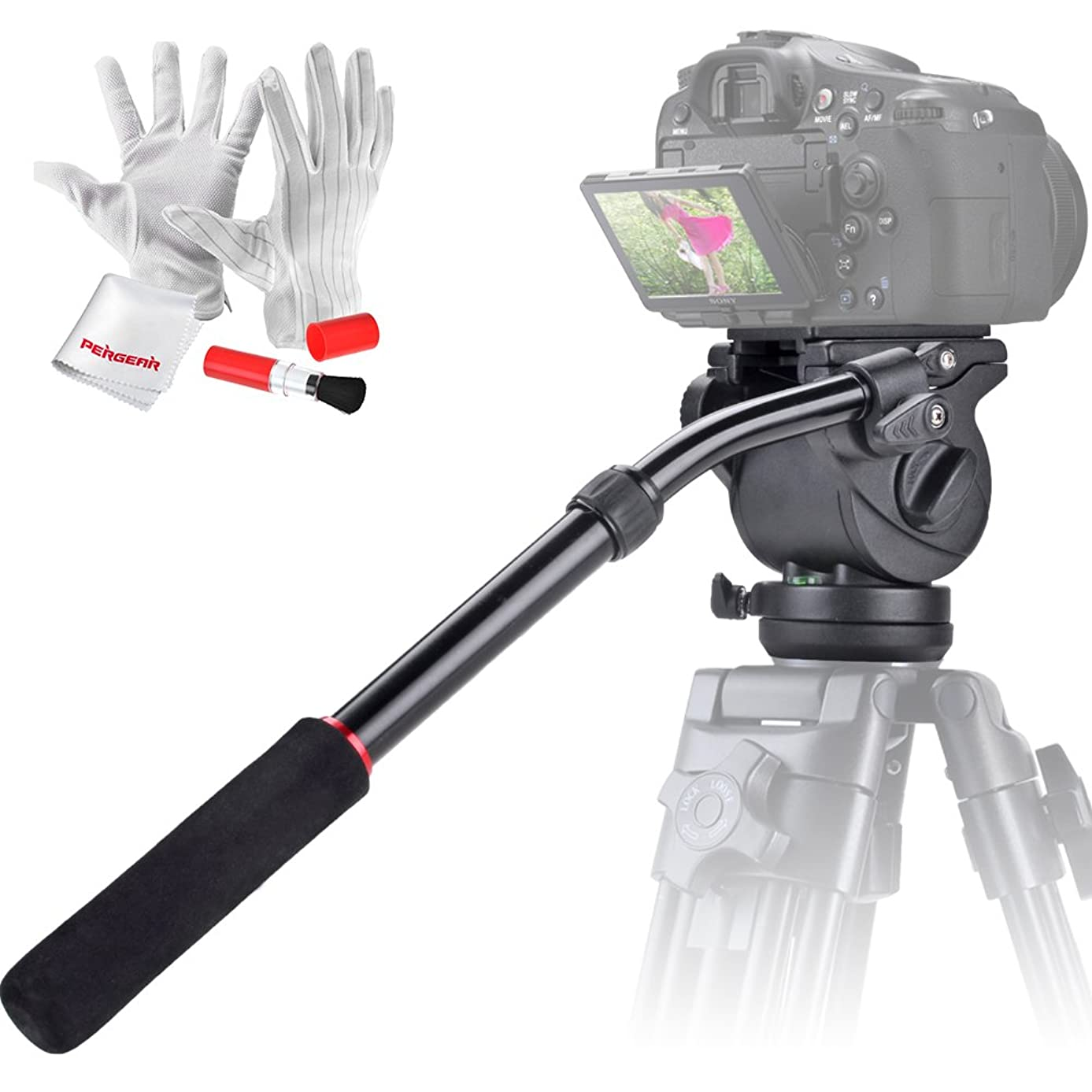 Emgreat® Video Camera Fluid Drag Tripod Head and Handle