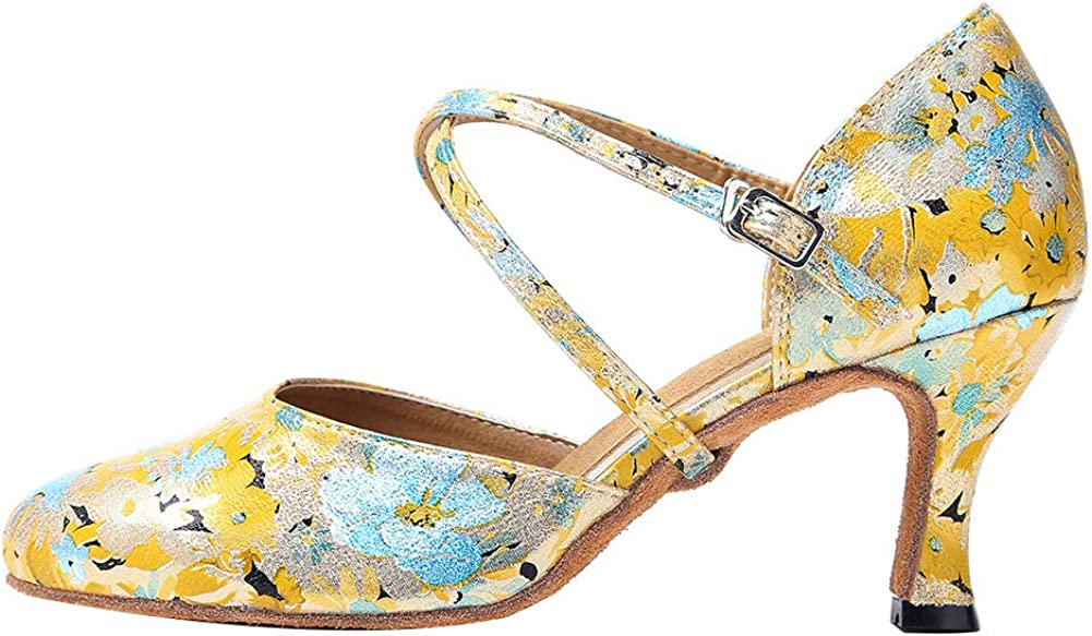 HROYL Closed Toe Ballroom Dance Shoes Women Ankle Strap Latin Salsa Tango Wedding Dance Shoes,YCL212