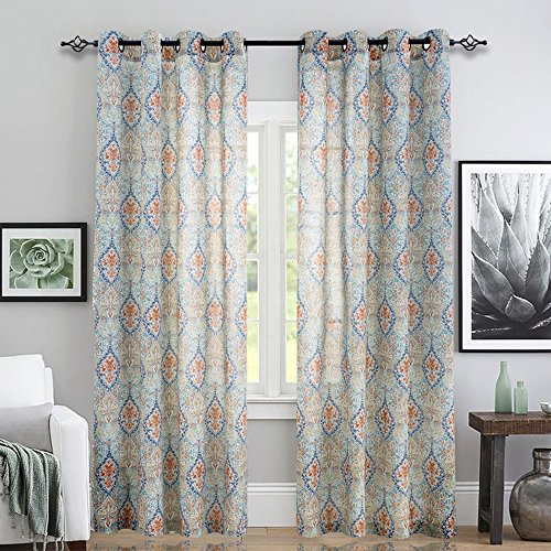 jinchan Damask Printed Curtains for Bedroom Multicolor Linen Textured Light Reducing Medallion Window Curtain Panels for Living Room (2 Panels, 95-Inch, Green)