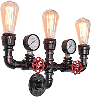 OYI Antique Wall Sconces, 3 Lights Rustic Wall Light Fixture Retro Water Pipe Style Copper Wall Mounted Lamp E26 Socket