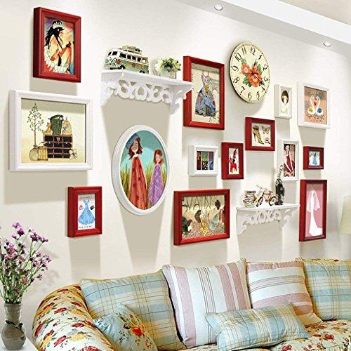 Fulinmen Marcos de Fotos Pared, Combinación de Fotos Pared Pared de la Sala de Estar Creativa del Estante Paredes del Dormitorio de Fotos, decoración casera (Color : D)
