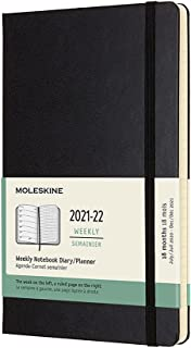 Moleskine Classic 18 ماهه 2021-2022 برنامه ریز هفتگی ، جلد سخت ، بزرگ (5 8 8.25) ، سیاه