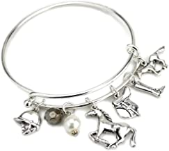 Wyo-Horse Jewelry English Style Horse Charm Wire Bracelet from The Collection