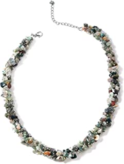 """Shop LC Delivering Joy Silvertone Chips Necklace for Women Jewelry Gift 21"""" (Blue Hawlite/Agate/Coral/Green Aventurine/Tigers Eye)"""