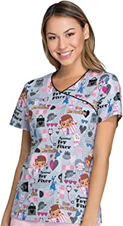 Tooniforms by Women's Mock Wrap Toy Fixer Print Scrub Top