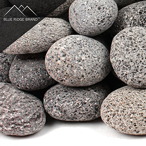 Purchase Blue Ridge Brand Lava Rock - 25-Pound Tumbled Lava Stones - 2 Black/Gray Lava Pebbles - Vo...
