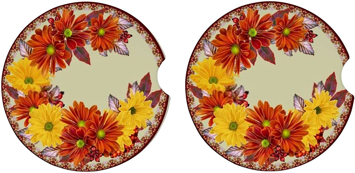 Car Coasters for Drinks Chrysanthemum Autumn Popular popular Special Campaign Absorbent Colorful
