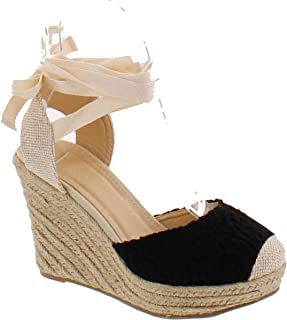 Maegan-32 Women Floral Crochet Ankle Wrap Slingback Espadrille Wedge - Black