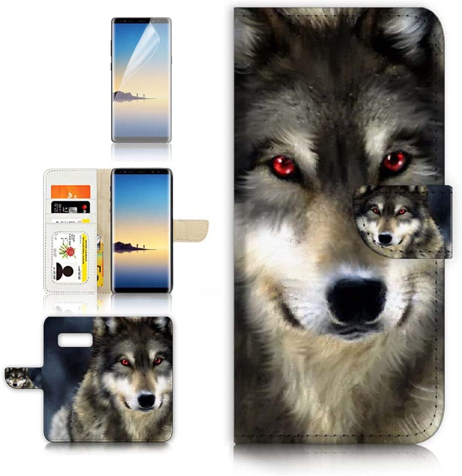 (for Samsung Note 8, Galaxy Note 8) Flip Wallet Case Cover & Screen Protector Bundle - A21376 Red Eye Wolf