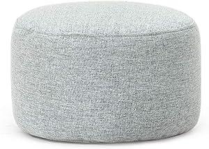 NV Pouf d'extérieur Repose-Pieds en Coton et Lin de ménage Rond avec Fermeture à glissière Design Ottoman, 5 Couleurs,Gray