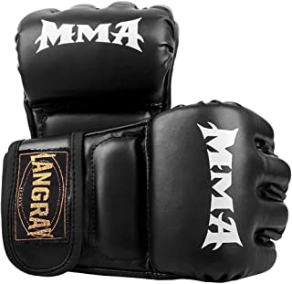 LangRay オープンフィンガー グローブ ボクシンググローブ 手袋 MMA 総合格闘技 ボクシング ムエタイ 空手 テコンドーなど トレーリング用 メ ンズ レディース