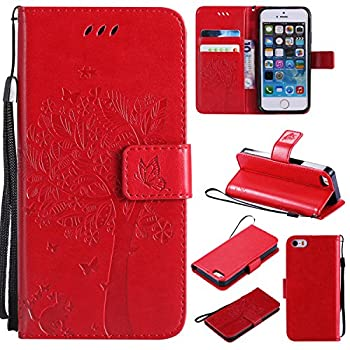 iPhone 4 / 4S Wallet Case,HAOTP Beauty Love Tree Embossed Plants PU Flip Stand Credit Card ID Holders Shockproof Soft TPU Inner Bumper Protective Leather Case Cover for iPhone 4 / 4S - Red