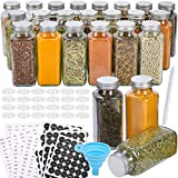 Aozita 24 Pcs Glass Spice Jars with Spice Labels - 8oz Empty Square Spice Bottles - Shaker Lids and Airtight Metal Caps - Chalk Marker and Silicone Collapsible Funnel Included