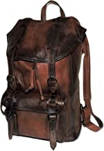 I Medici of Florence Vintage Italian Leather Laptop Backpack Antique Cognac