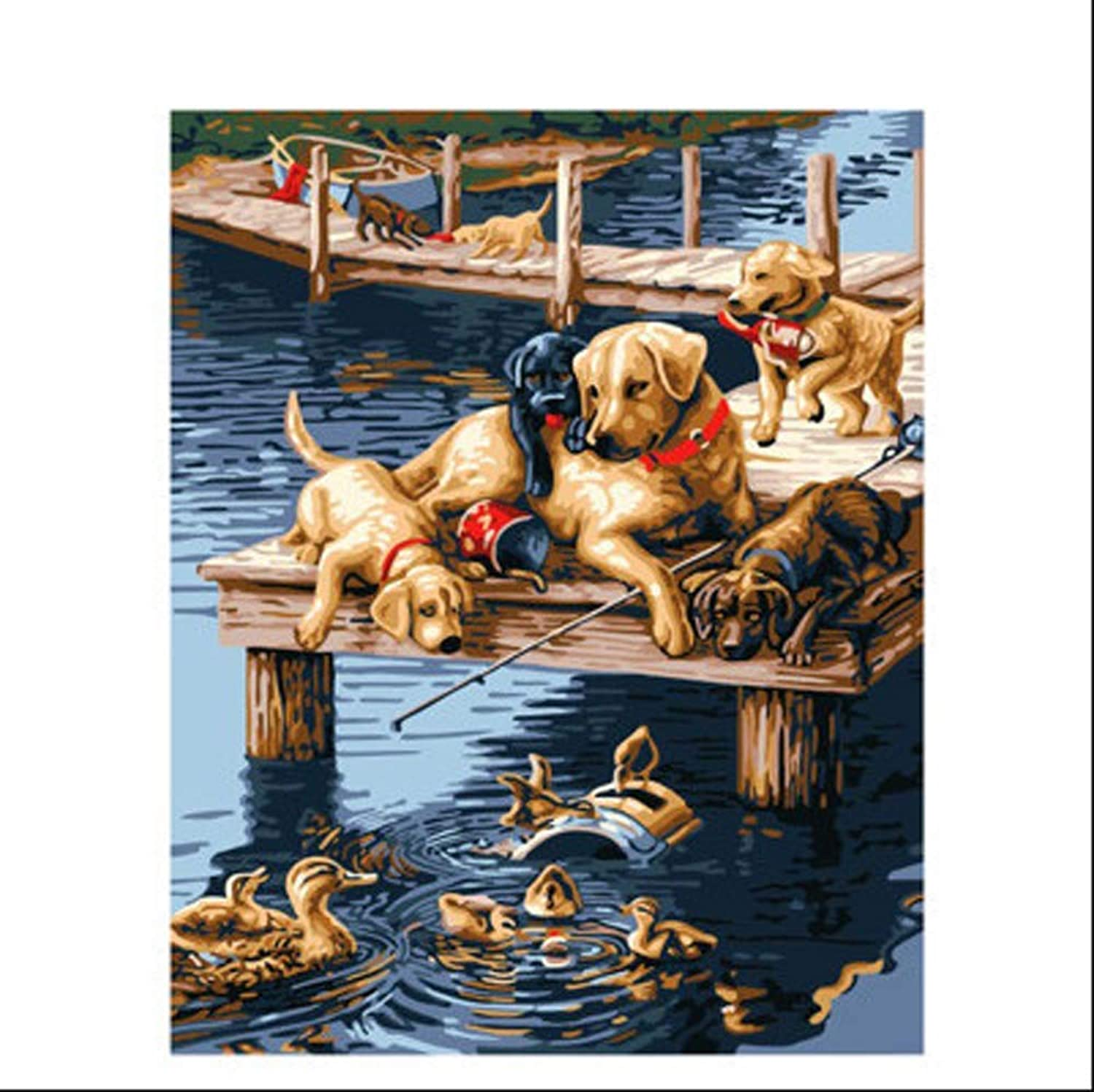 Tuwba Paint by Numbers Adult Kit Dogs and Ducks Animal Beginner Acrylic On Canvas,Framed 40X50Cm