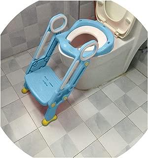 Soft Base Plastic Children's Toilet Baby Toilet Training Folding Potty Ladder Toilet Seat Toilet Bowl Step Stool with Backrest,Green