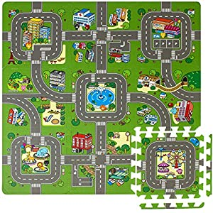 Sorbus Traffic Play mat Puzzle Foam Interlocking Tiles – Kids Road Traffic Play Rug - Children Educational Playmat Rug - Great for Playing with Toy Cars Trucks (9 Tiles with Borders)