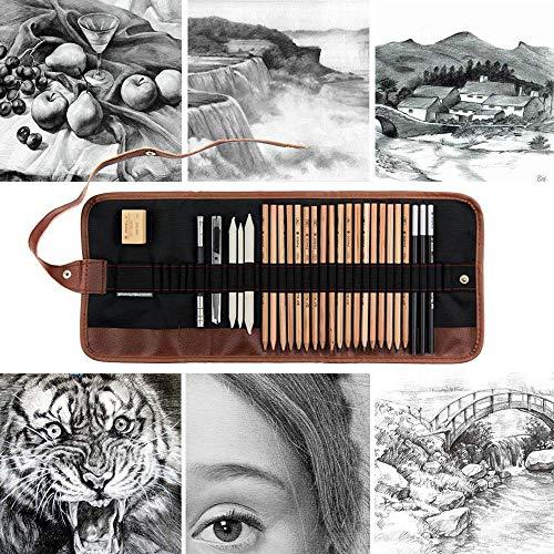 Pawaca Ensemble de Crayons de Dessin à Croquis, kit de Dessin Professionnel avec Trousse à Crayons Graphite, Gomme, Outils de Dessin pour débutants, Enfants et Adultes