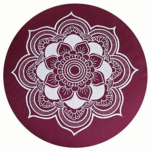 Cojín de meditación, yoga, Celine Madeleine con funda bordada, lavable, relleno con...