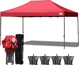 ABCCANOPY 18+ Colors 10x15 Pop up Tent Instant Canopy Commercial Outdoor Canopy with Wheeled Carry Bag Bonus 4X Weight Bag (Burgundy)