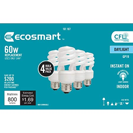 EcoSmart 14-Watt Daylight Compact Flourescent (CFL) Light Bulbs, Pack of 8