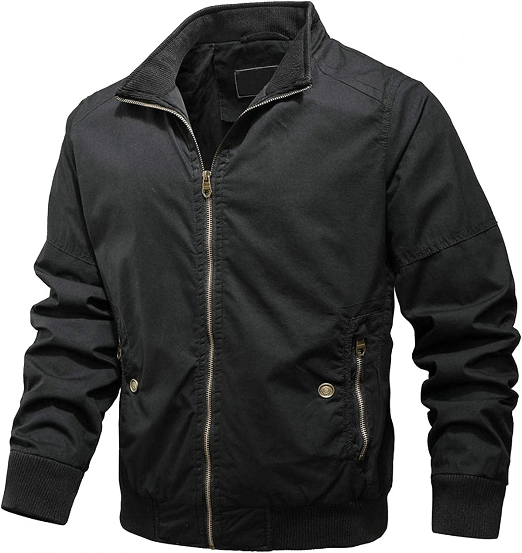 LEIYAN Mens Cargo Military Jackets Casual Long Sleeve Zip Up Lapel Bomber Motorcycle Softshell Jackets