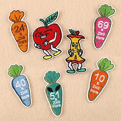 Patch Sticker,Parche termoadhesivo,Aplique de bordado adecuado para sombreros, chaquetas, abrigos, camisetas zanahoria manzana 8 piezas